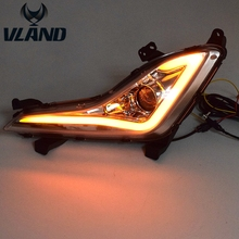 Free shipping for vland for Hyundan Elantra LED Daytime Running Light 2012-2016(DRL) Fog light with turn sign (White and Yellow)