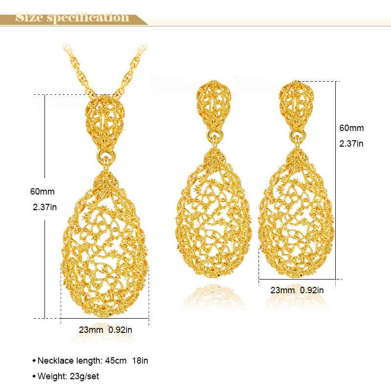 Ensoleillé bijoux Vintage ensembles de bijoux pour les femmes collier boucles d'oreilles pendentif goutte d'eau évider ensembles de bijoux pour l'engagement de mariage