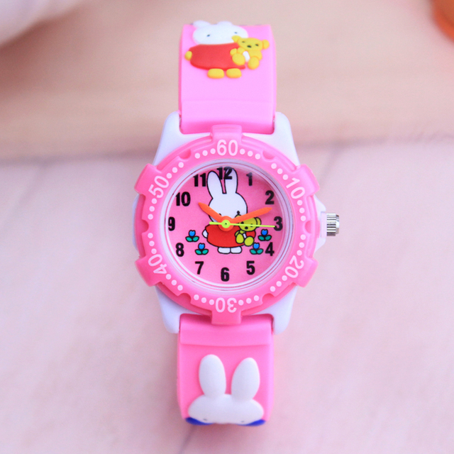2018 new children girls quartz acrylic roating dial silicone strap watches kids