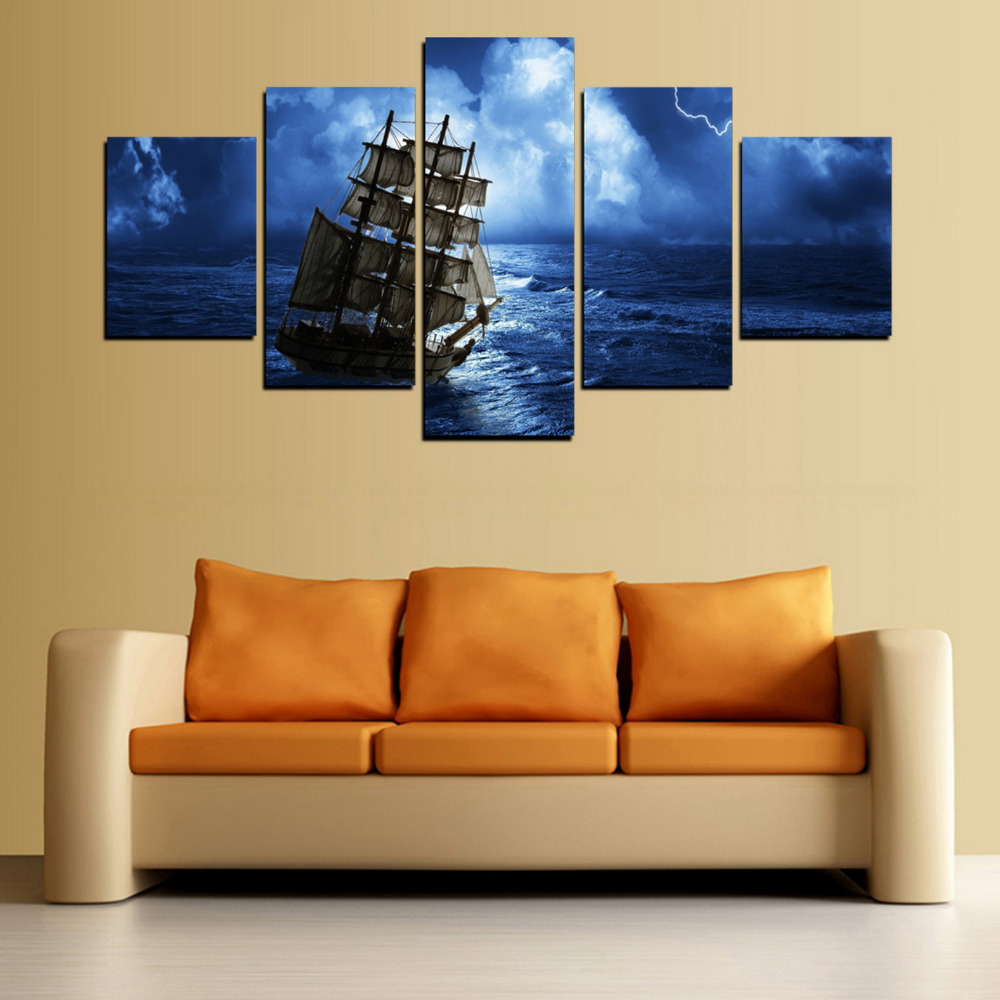 HD Picture Canvas Print Boat at Dark Sky Ocean Painting On Canvas ...
