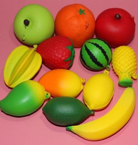 72pcs mixed kawaii squishy cute fruit slow rising toy 12kinds squishy pu soft kisds gift wholesale