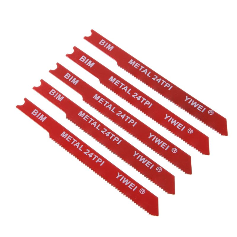 5pcs Durable U-shank BIM Bi-Metal 3'' 24 TPI Reciprocating Saw Blade Cutter For Metal Cutting