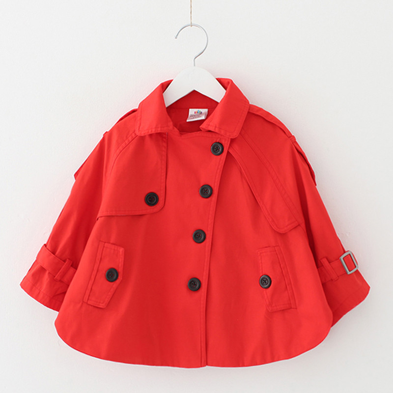 ФОТО Baby Girls Trench Coat England Style Turn-down Collar Solid Color Toddler Girl Outerwear Children Clothing Autumn Winter Jacket