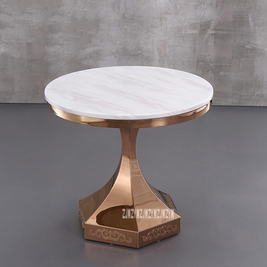 60cm Classic Modern Marble Top Tea Table Reception T Shape Round Coffee Table Center Dining Table Stainless steel Rack stainless steel coffee table frame