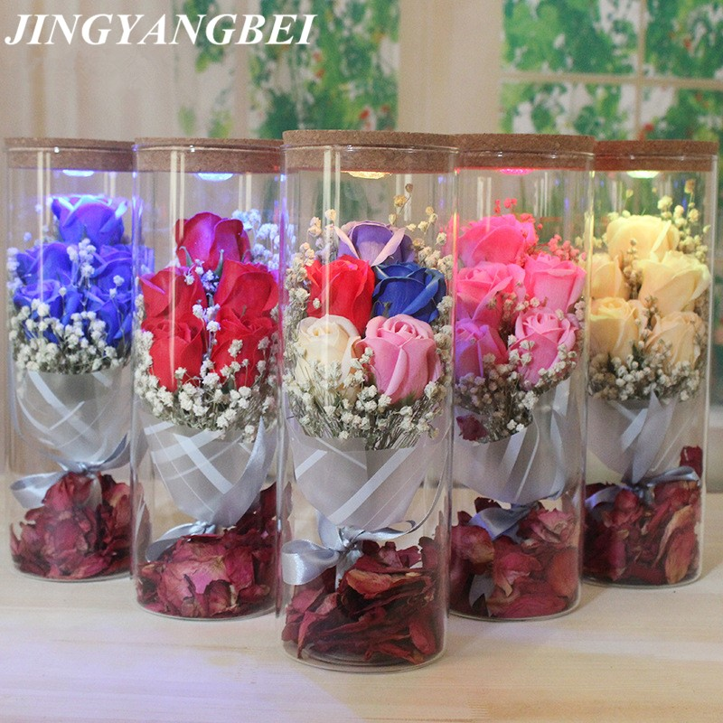 Set Of 10 Country Garden Flower Seed Wedding Favours With: Natural Babysbreath Dried Flower +Soap Rose +Glass Bottle