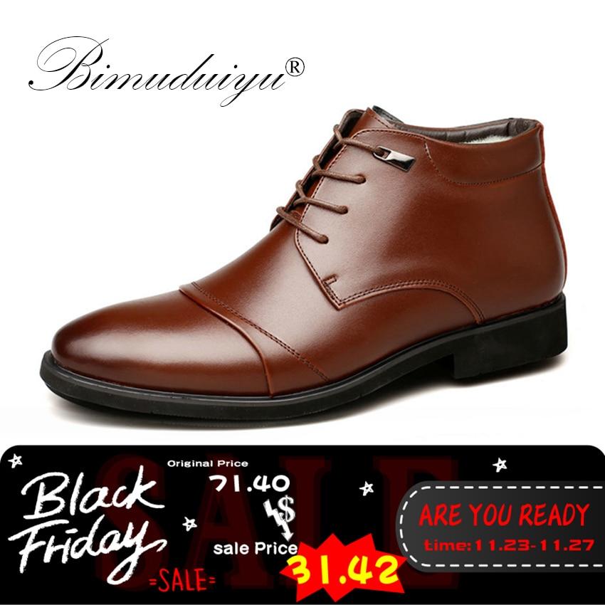 BIMUDUIYU теплые с Мех животных для мужчин's ботильоны модные мужские Бизнес Офисные Формальные кожаные туфли острый носок Роскошные М