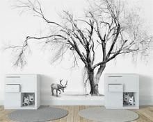 Купить с кэшбэком Beibehang Custom Wallpaper Living Room Bedroom Background 3d Wallpaper Nordic Abstract Black and White Trees TV Background mural