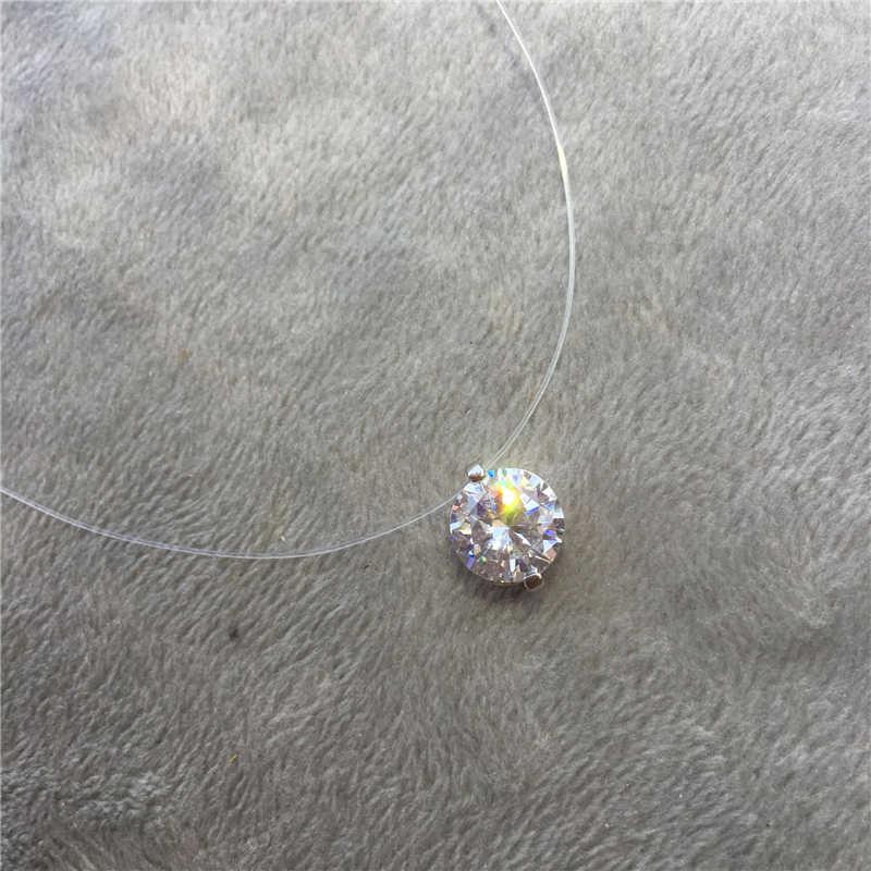 07e4a44b8a8c Gargantilla Invisible pez línea cristal Collar colgantes cuello circón  mujer clavícula cadena señora Feminino Collar