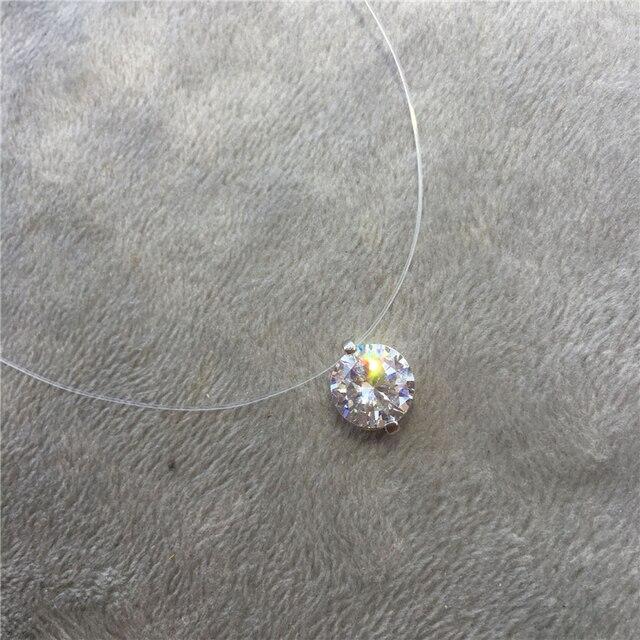 Choker Invisible Fish Line Crystal Necklace Pendants Neck Zircon Women Clavicle