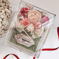 Cocostyles bespoke blank fashion oblong shape acrylic ring box with gold engraving logo for lawn wedding gift box