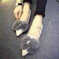 Женщины Дамы Моды Квартиры Обувь Низкого пятки Параболическими Бантом Заклепки Меха Кролика Sexy Черный Серый Плоские Туфли
