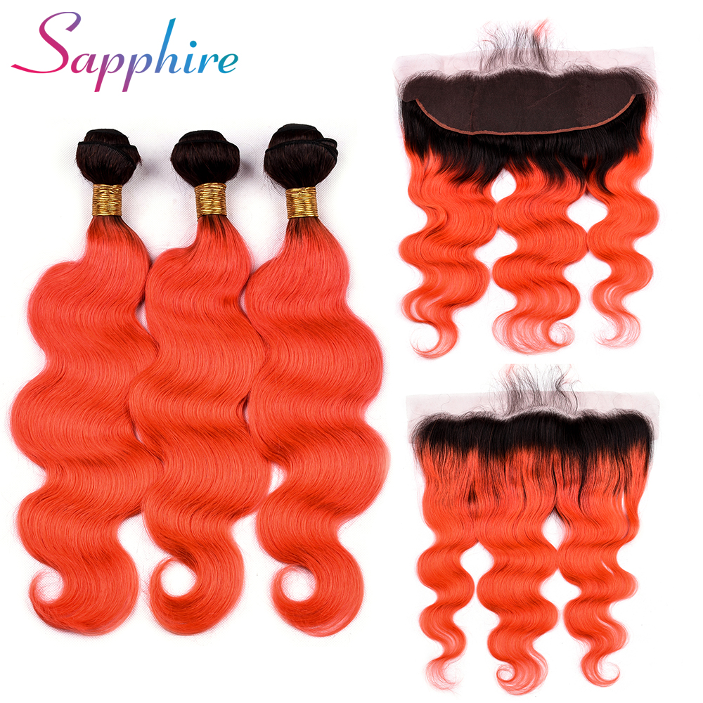 Sapphire 1B/Orange Dark Roots Ombre Color Brazilian Body Wave Bundles with 13x4 Lace Frontal Remy Human Hair Bundles