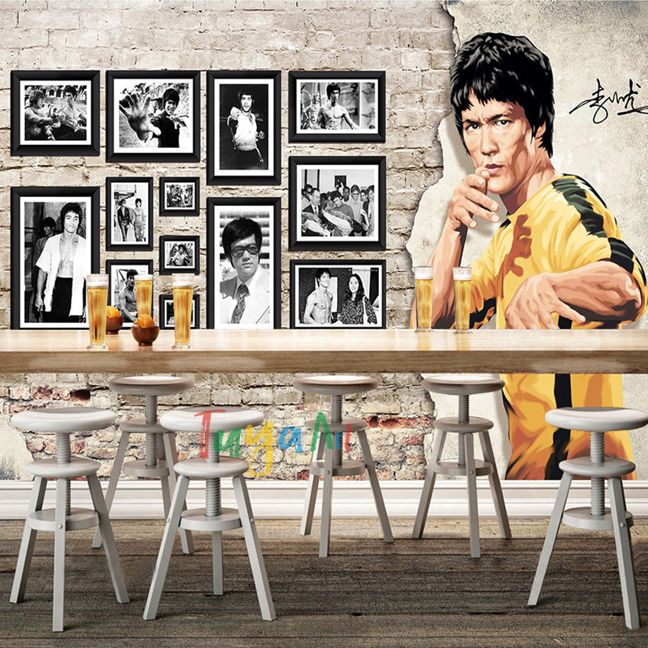 free shipping discount vintage 3D Bruce Lee poster mural wallpaper for entertainment night club studio wall decoration bruce johnson professional visual studio 2017