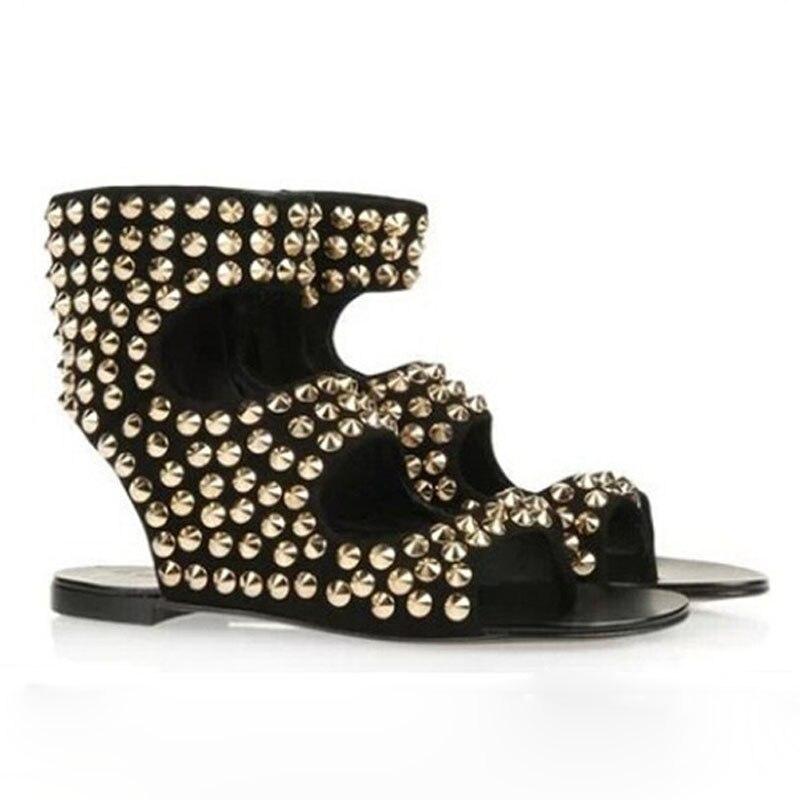 New design summer sandals open toe cut-outs gold rivets studded flat sandals  fashion woman - Popular Gold Flat Sandals Women-Buy Cheap Gold Flat Sandals Women