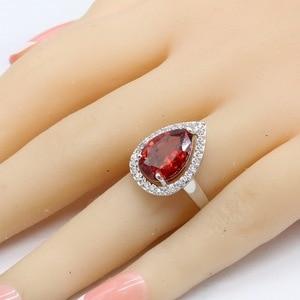 Image 2 - אדום מעוקב Zirconia לבן אבנים כסף צבע תכשיטי סטי שרשרת תליון צמידי עגילי טבעות לנשים משלוח אריזת מתנה