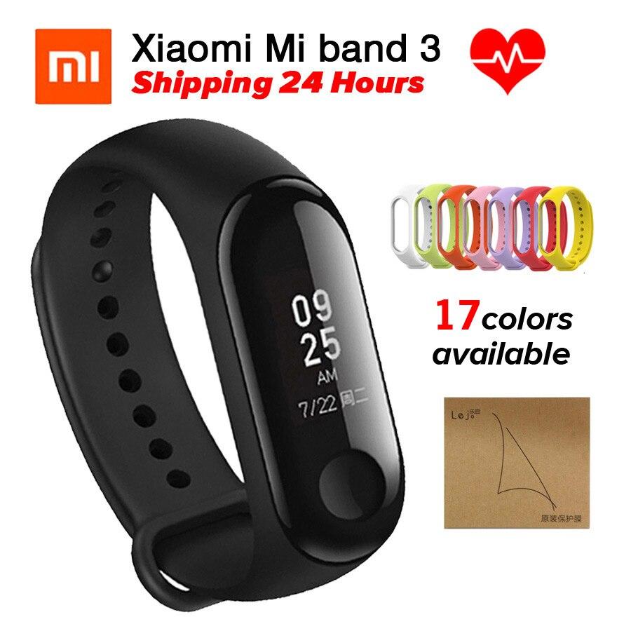 Xiao mi mi mi Banda banda 3 3 Rastreador De Fitness Monitor de Freqüência Cardíaca Pulseira Inteligente 0.78 ''Display OLED Touchpad bluetooth 4.2 Android