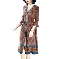 Promotion 100% Natural silk Lady Dress Indie Folk Women Mid Calf Length Half Sleeves Dress Female Spring Summer Long Dress XL
