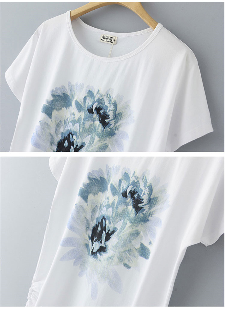 HTB1lig6M9zqK1RjSZFLq6An2XXa5 - Summer Female T Shirt New arrive Women's printing Short-sleeve White Cotton T-shirt women Loose Batwing Sleeve O-neck T-Shirt
