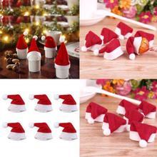 """Мини Санта Клаус Шапки для Lollipop для рождественской вечеринки праздник """"Леденец"""" Топ Топпер бутылки вина кукла Декор Кепки посуда крышка красный"""
