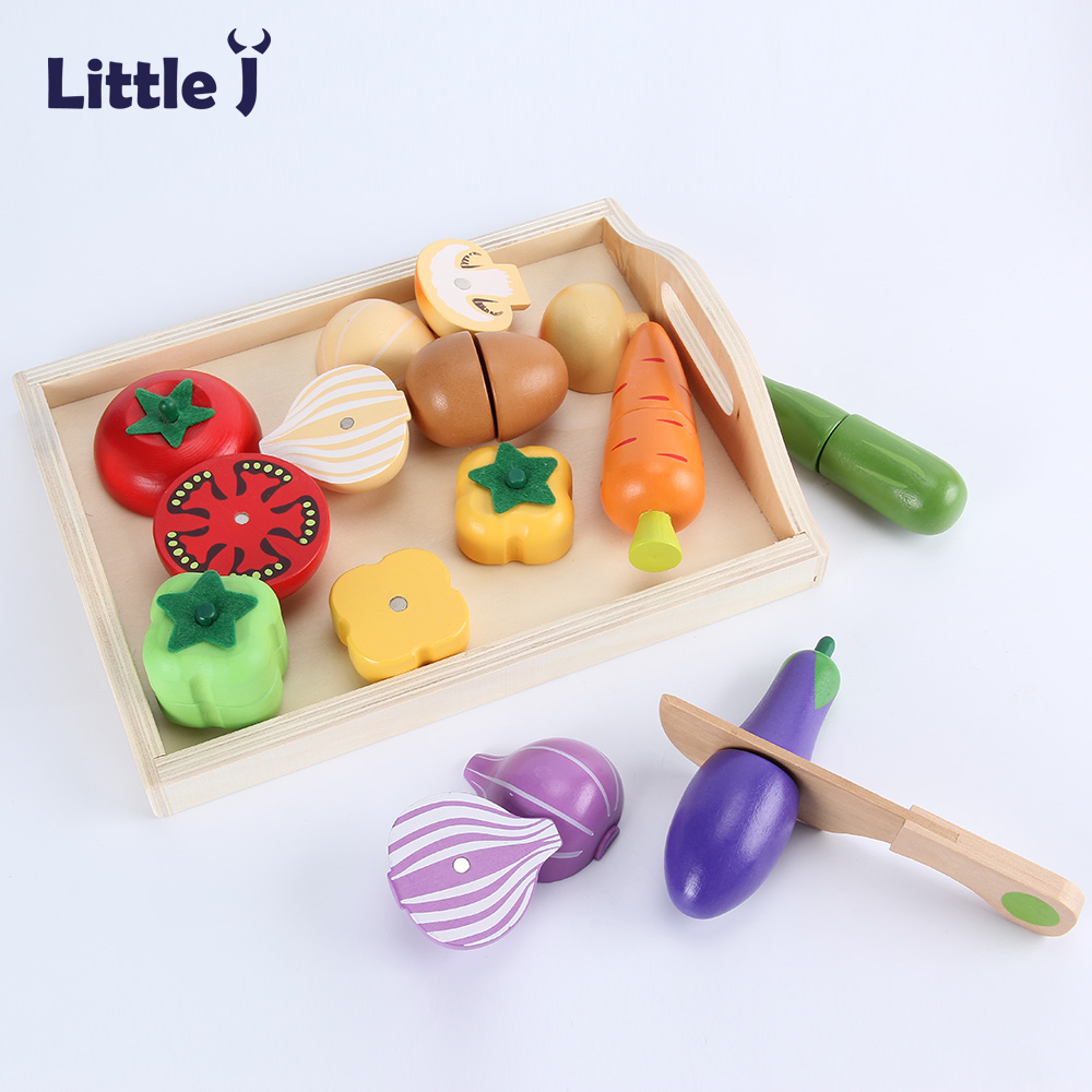 Little Food Toys : Little j kids wooden kitchen cutting toys set children