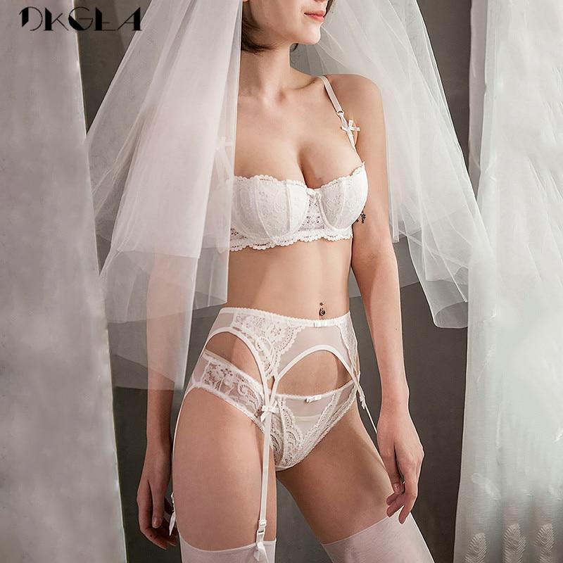 White Bras Push-Up Women Lingerie Set Cotton Brassiere Embroidery Lace Bra Set 3 Piece Bra+Panties+Garter Sexy Underwear Set