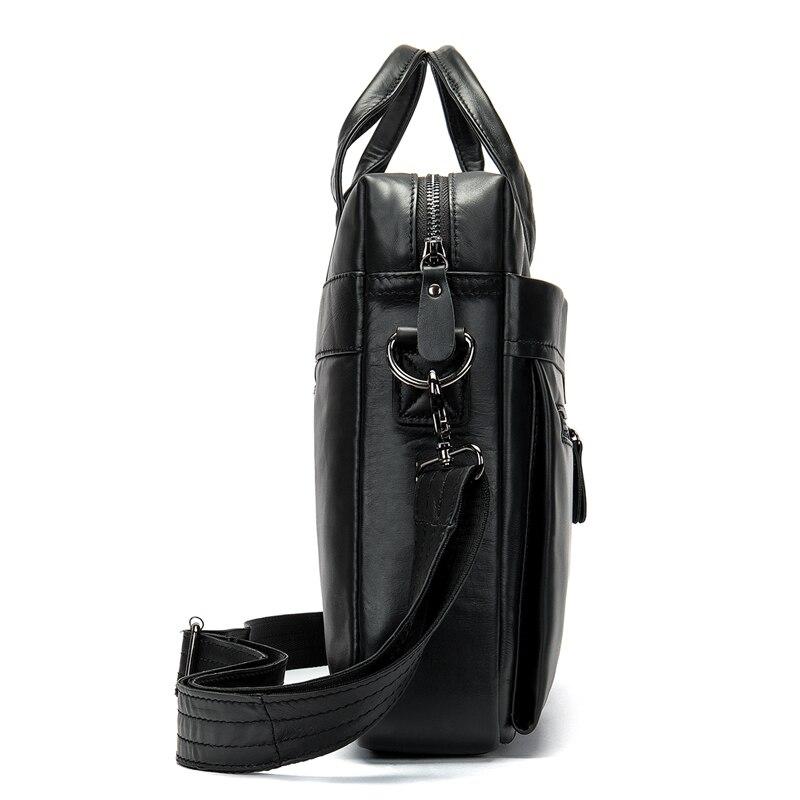 WESTAL sacchetto di cuoio genuino per gli uomini della borsa della cartella bussiness borse per notebook per i documenti messenger borse tote valigetta 9005-in Valigette ventiquattrore da Valigie e borse su  Gruppo 2