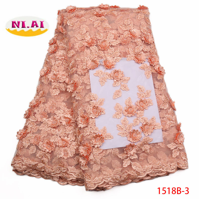 2018 African Handmade Embroidery Lace Fabric High Quality Fashion Women's Clothing Fashion Peach fabric Lace Material XY1518B 3