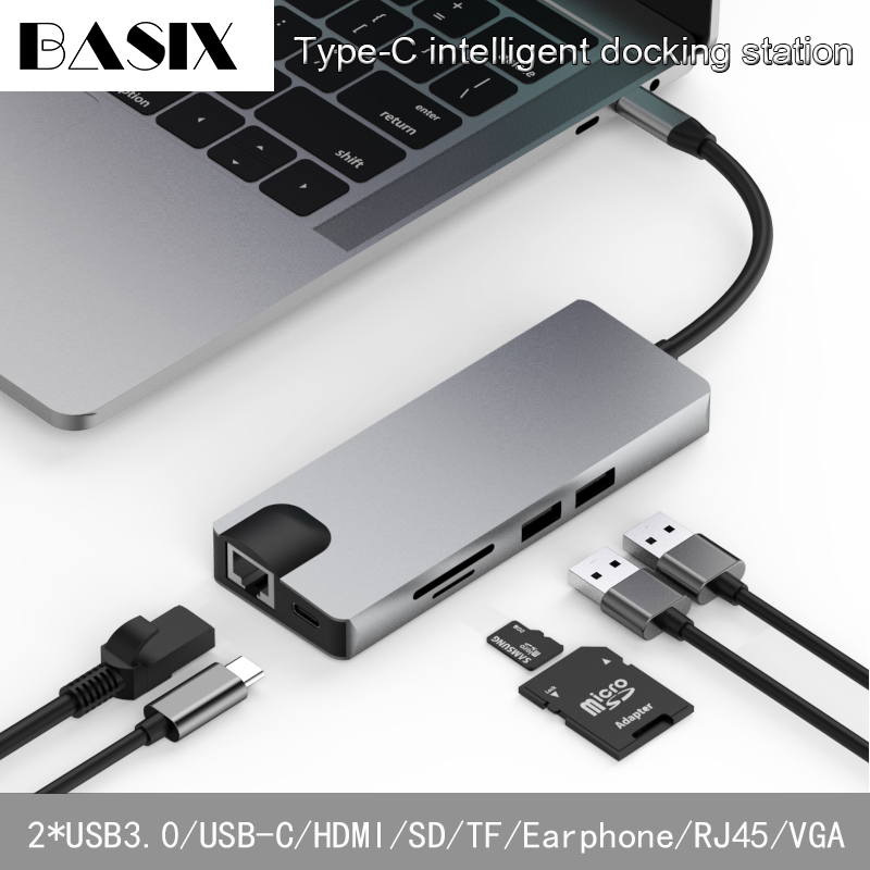 Basix USB C HUB To USB3 0 HDMI VGA RJ45 Gigabit Ethernet SD TF PD Charge