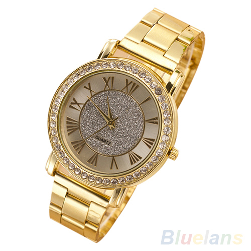 men wristwatches Retro Gold Plated Crystal Business Casual Alloy Analog Quartz Watch 1OR2 3UUD