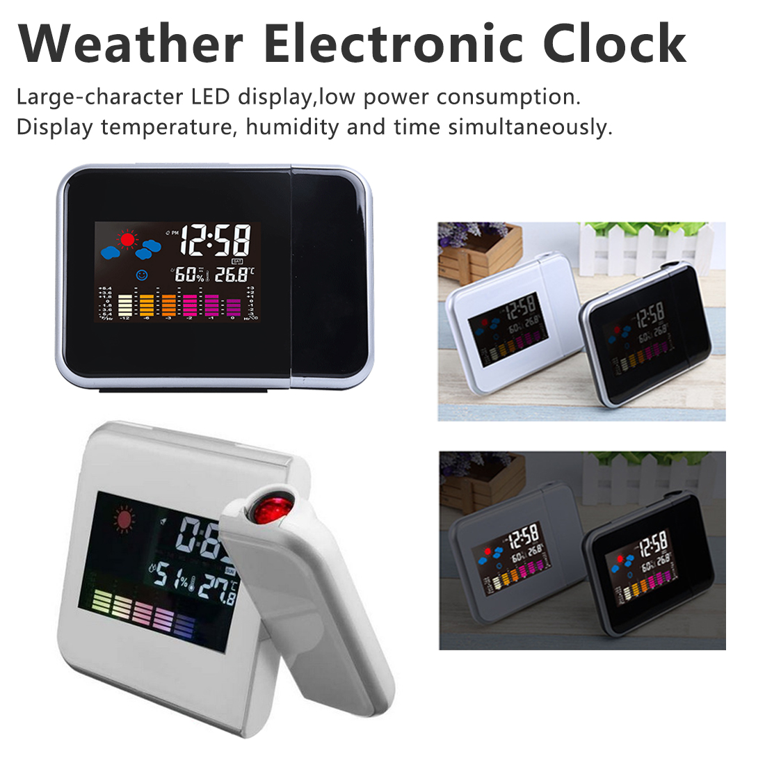 Weather Station Radios & Alarm ClocksElectronic Table Watch Desk Alarm Clock Projector Clock LED Digital Alarm Clock