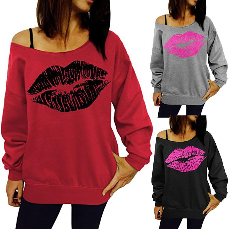 Wome Boat Neck Casual Lips Print Off Shoulder Long Sleeve T-shirt Female Fashion Summern Sexy Clothes Casual T-Shirt Tops