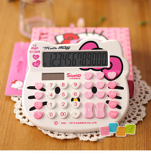 Cute Kitty Cats Pattern 12 digits Dual power solar power AA battery scientific calculator for Office