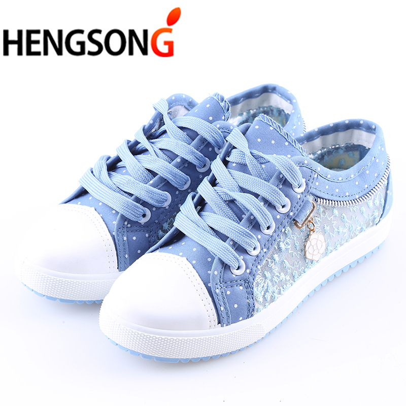 Mesh Breathable Shoes For Women Students Canvas Shoes Lace-Up Jeans Shoes Fashion Summer Mesh Shoes Flats Female Lady