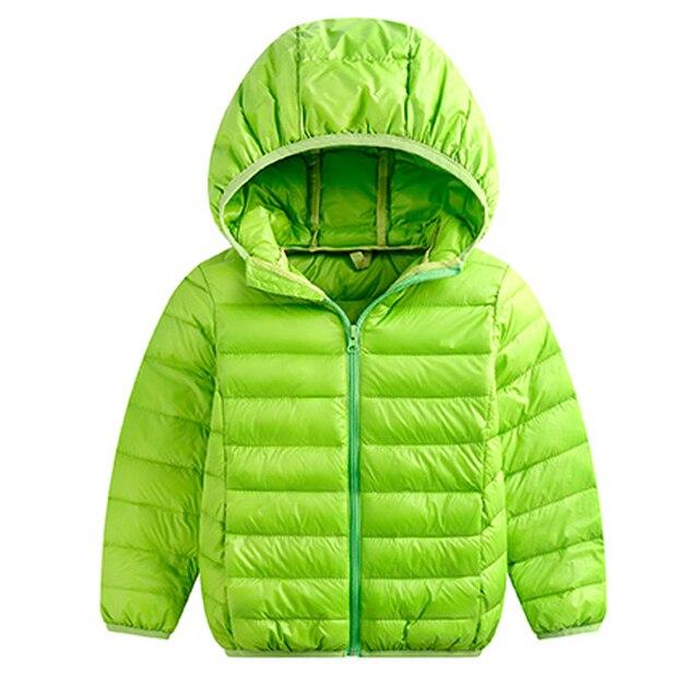 80c175145 Fluorescent Green Girls Boys Winter Urltra-Light Down Jacket Parkas Coat  For Kids Girls Boys Hoodies Outerwears New 2018