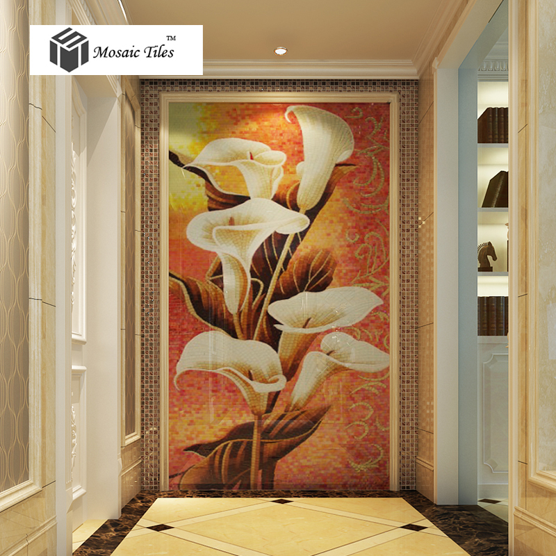 tst new design art mosaic white calla lily floral parquet puzzle glass tile hotel bathroom italy. Black Bedroom Furniture Sets. Home Design Ideas