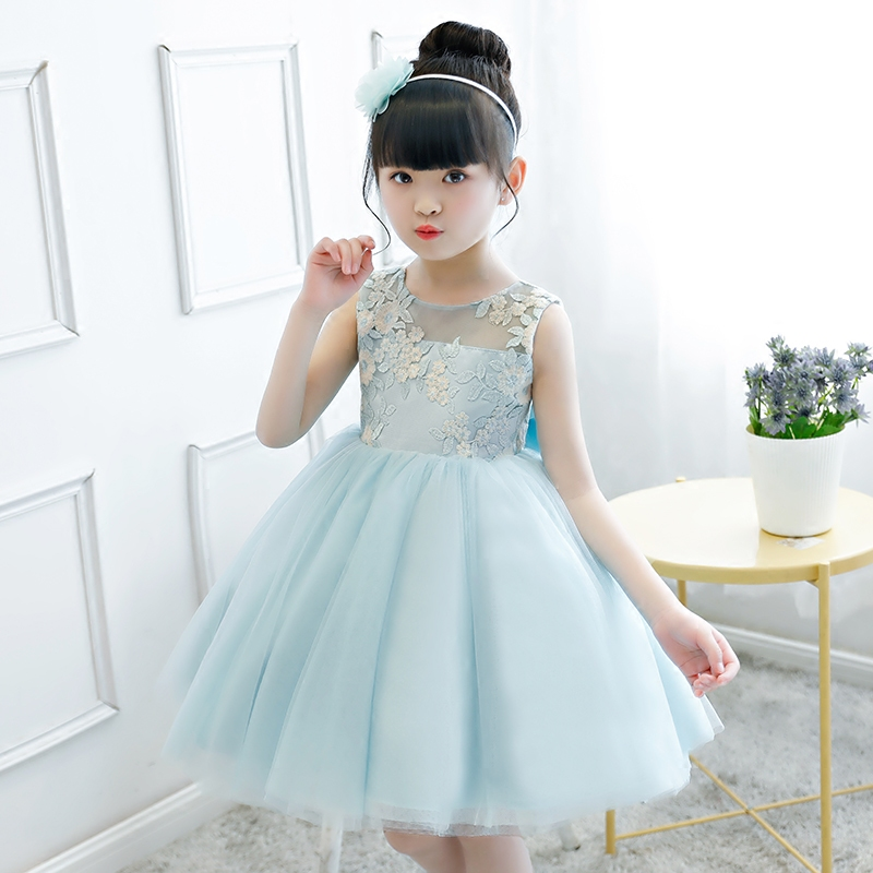 Children Girls Elegant Embroidery Flowers Ball Gown Princess Birthday Wedding Evening Party Dress Kids Costume Dress For 3~9yrs girls birthday wedding evening party embroidery flowers lace princess dress children kids model show costume pageant long dress