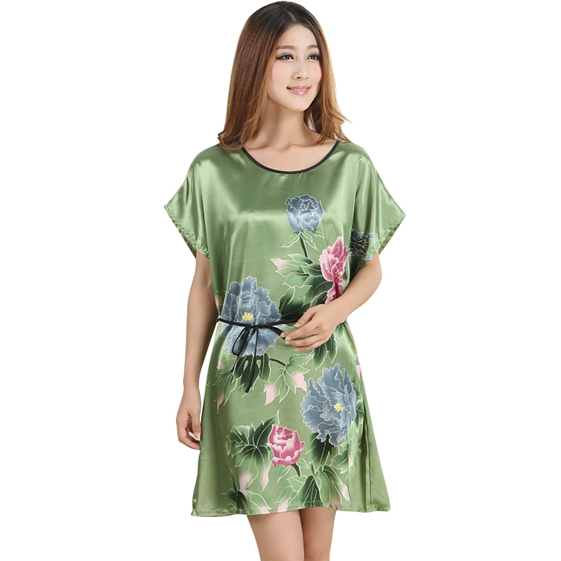 Women Flowers Printed Nightwear Ladies Robes Nightwear Sleep Night Dress Nightgown H6