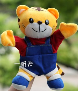 Candice guo 플러시 장난감 인형 만화 모델 인형 만화 모델 귀여운 동물 호랑이 QiaoHu 손 인형 아기 생일 선물 크리스마스 선물 1pc 인형