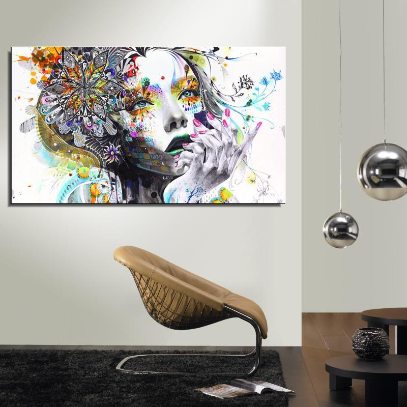 Frameless Canvas Art Oil Painting Flower Painting Design: Girl FLOWER Butterfly Colour Cartoon Figure Painting