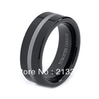 FREE SHIPPING!USA WHOLESALES CHEAP PRICE BRAZIL RUSSIA CANADA UK HOT SELLING 8MM BLACK ENGRAVED LINE BRIDALTUNGSTEN WEDDING RING