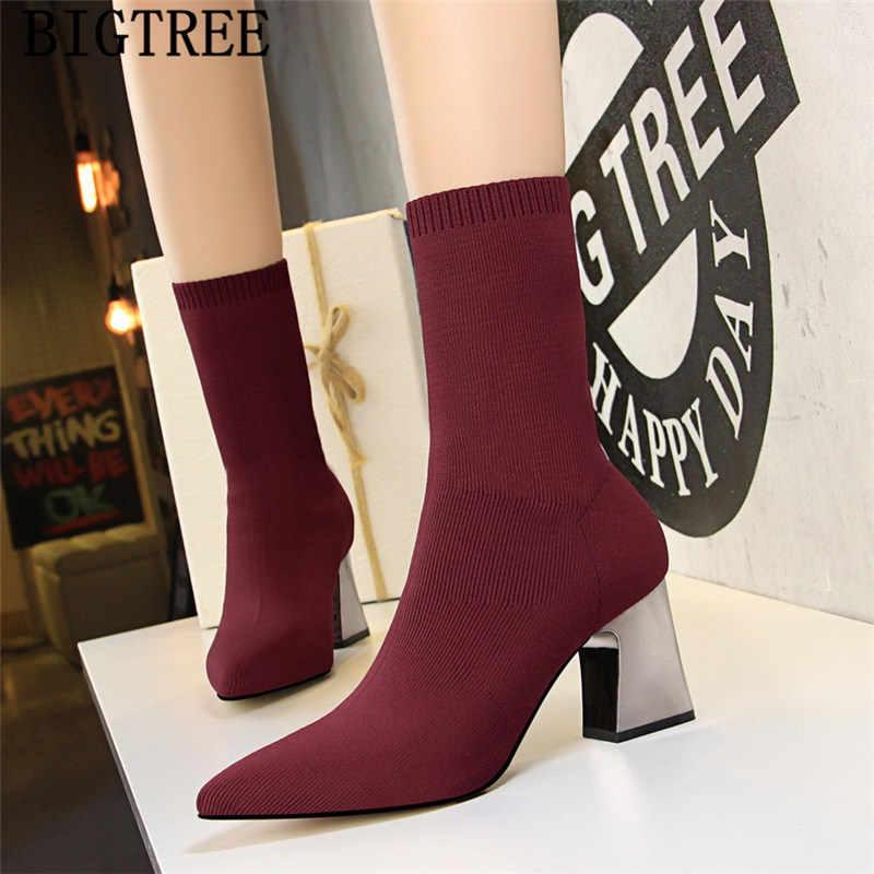 Kırmızı çizmeler kadınlar kalın topuk örgü ayakkabı kadın bigtree ayakkabı yüksek topuk çizmeler kadın yarım çizmeler sivri burun yüksek topuklu