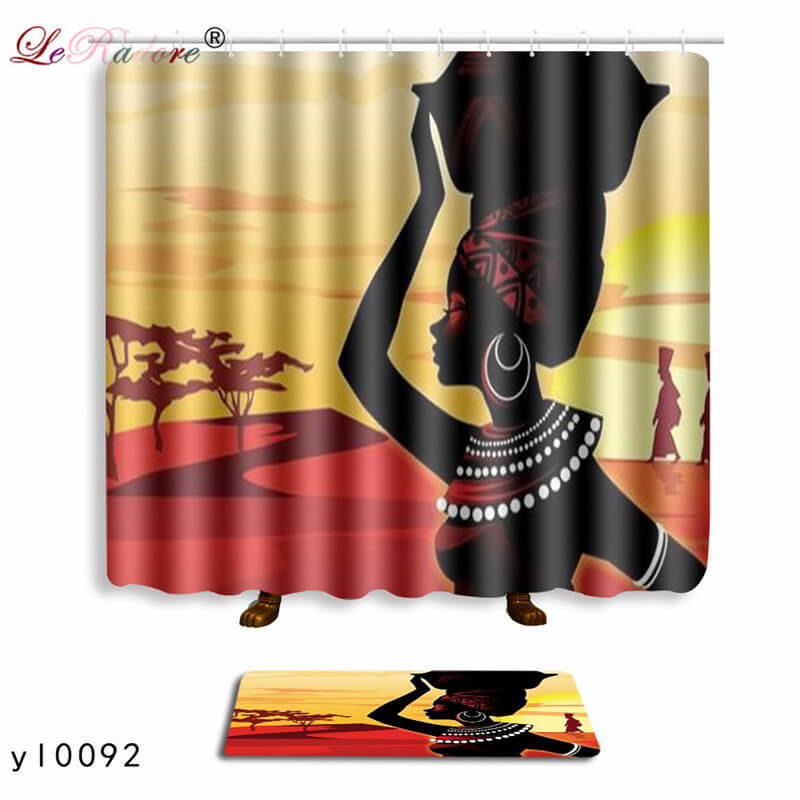 LeRadore Hippie Style Bathroom Curtain African Dance Women Print Shower Curtains And Non Slip Bath Mat Set For Doormat Free Ship In From