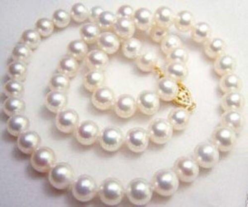 Shopping gratuit! 9-10 MM charmant collier de perles de culture Akoya blanc collier de perles bijoux en pierre naturelle