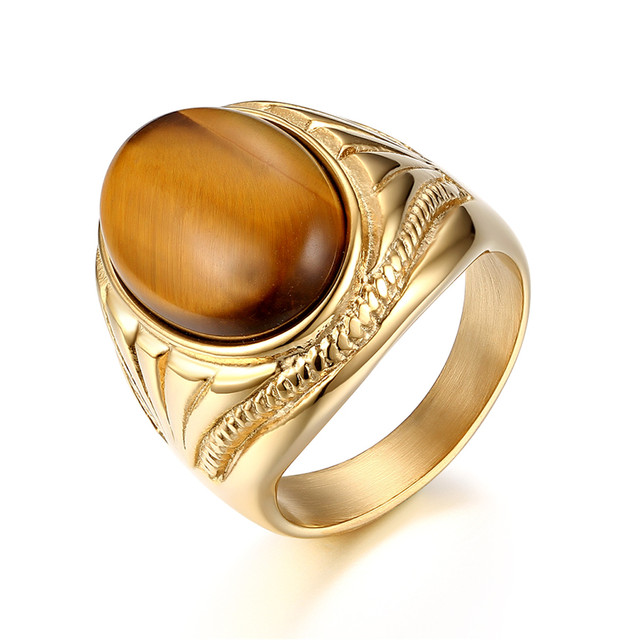 brixini.com - Oval Tiger Eye Natural Stone Stainless Steel Ring