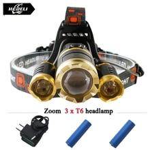 3T6 led headlight cree xm l t6 head lamp 10000 lumens waterproof lights headlamp18650 rechargeable battery