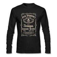 Пираты Карибы Джек Воробей капитан Футболка хлопок Crewneck С Длинным Рукавом Пользовательские футболки мужские горячие онлайн футболки