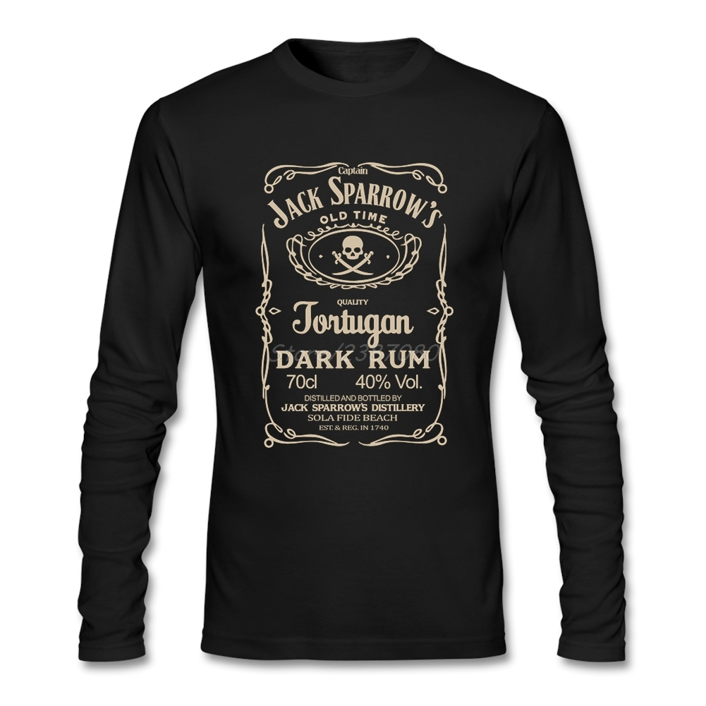 Pirates Of The Caribbean Jack Sparrow Captain T Shirt Cotton Crewneck Long Sleeve Custom T-shirt Men 2017 Hot Online T Shirts
