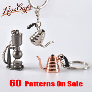 Couple Espresso Accessories Coffee Keychains Mini Grinder Tamper Siphon Pots Keyring Cafe Gift for Coffee Lovers Keychain(China)