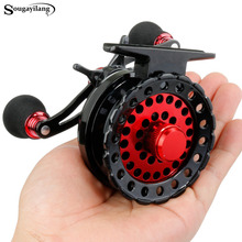 Sougayilang 6+1BB Raft Fishing Reel Baitcasting Right Fly Fishing Wheel Ice Trolling Reels Fishing Gear/Tool In Pouch Pesca