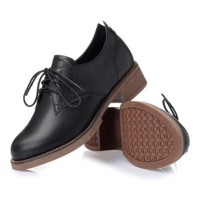 Tête Non Noir Chaussures Confort 2019 Plat marron Femme slip Mode Ronde Véritable En Printemps Bouche Dentelle Femmes Nouveau Profonde Cuir xZxUn4q